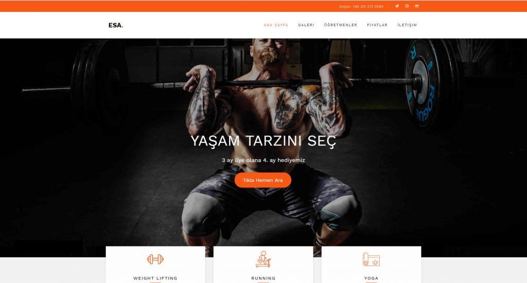 Hazır spor salonu web sitesi