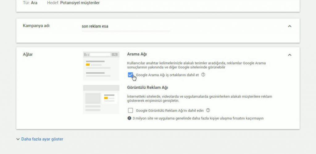 Google ADS ağ seçeneği